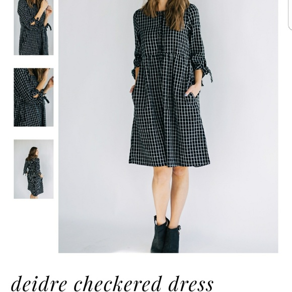 Hidden Alley Dresses Black White Half Button Flannel Dress Poshmark